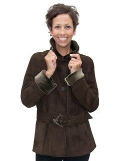 NEW Christia of Italy Brown Merino Lamb Shearling Jacket