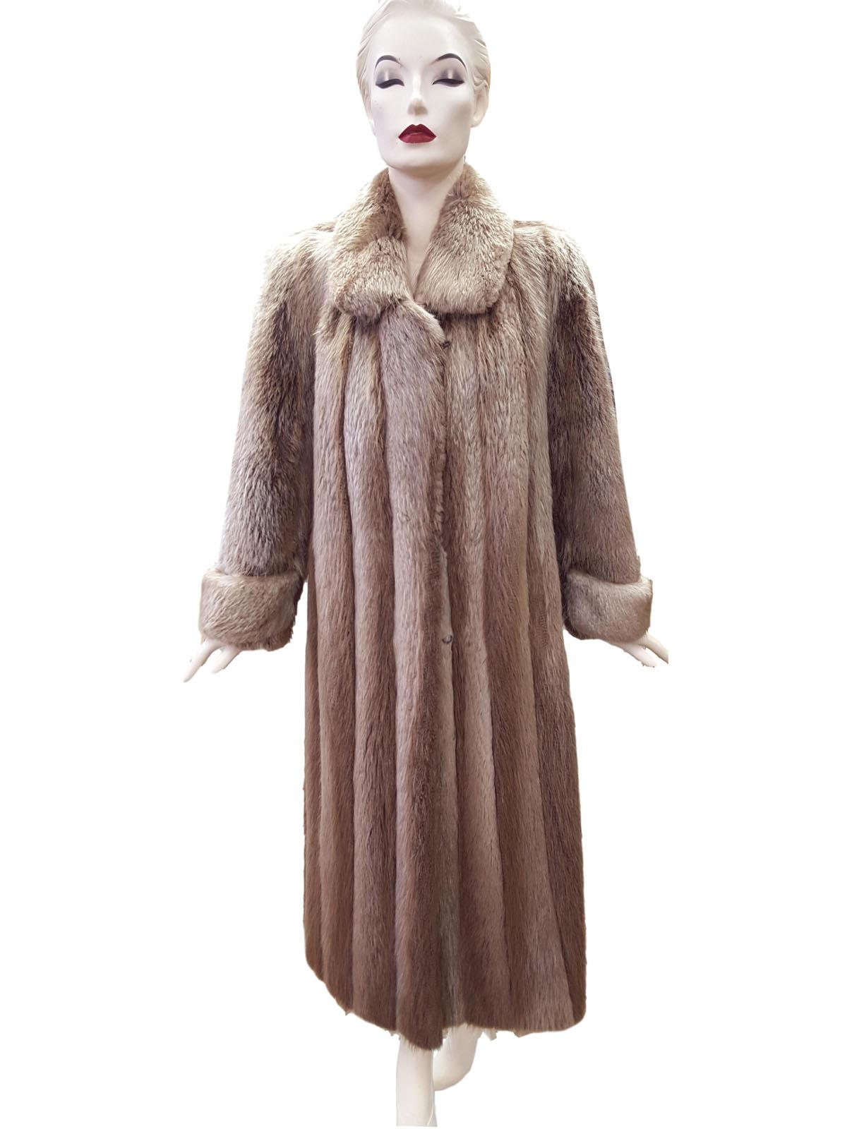 Blonde Long Hair Beaver Trench Coat