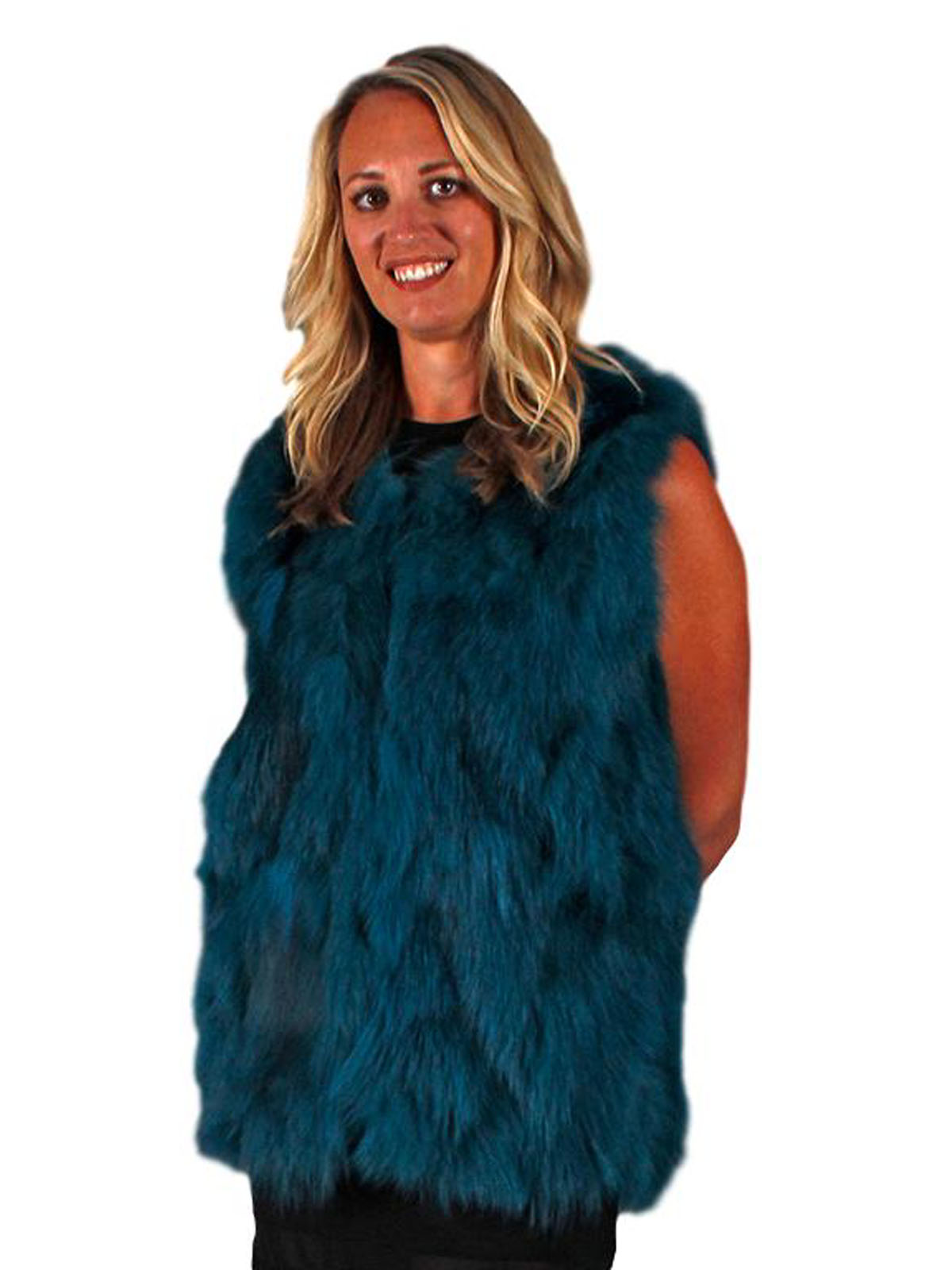 NEW Adrienne Landau Teal Fox Vest