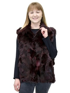 NEW Adrienne Landau Merlot Fox Sections Pieced Vest