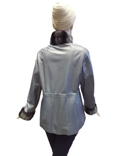 NEW Silver Metallic Lamb Leather Jacket with Rex Rabbit