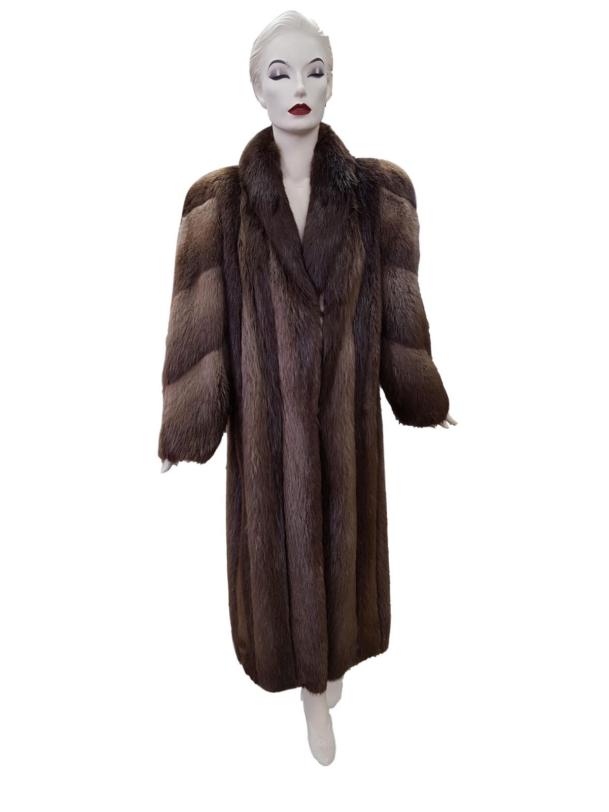 Natural Brown Long Hair Beaver Coat with Diagonal Sleeve Design