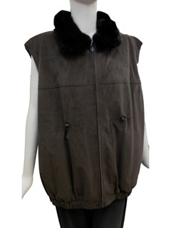 NEW 3 in 1 Suede and Mink Coat and Vest
