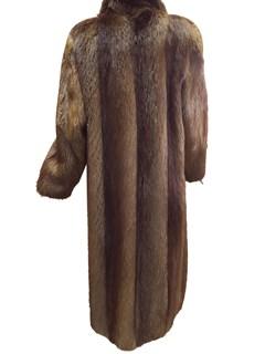 Natural Brown Long Hair Beaver Coat
