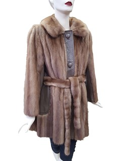 Pastel Mink Jacket with Leather Trim and Fur Belt