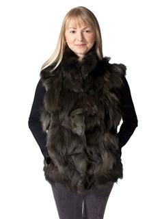 NEW Adrienne Landau Green Fox Sections Pieced Vest