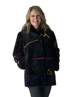 NEW Black Sheared Mink Parka with Abstract Detail