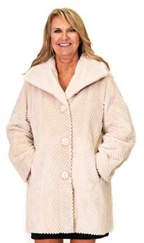 NEW Zuki Reversible Sheared Beaver Floral Coat