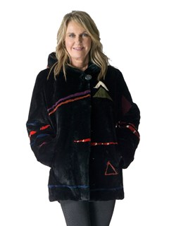 NEW Black Sheared Rex Rabbit Parka with Abstract Design