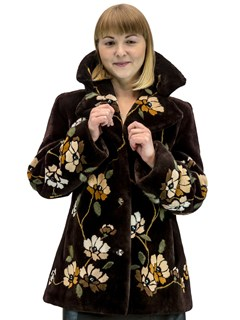 NEW Zuki Brown Sheared Beaver Jacket with Floral Design