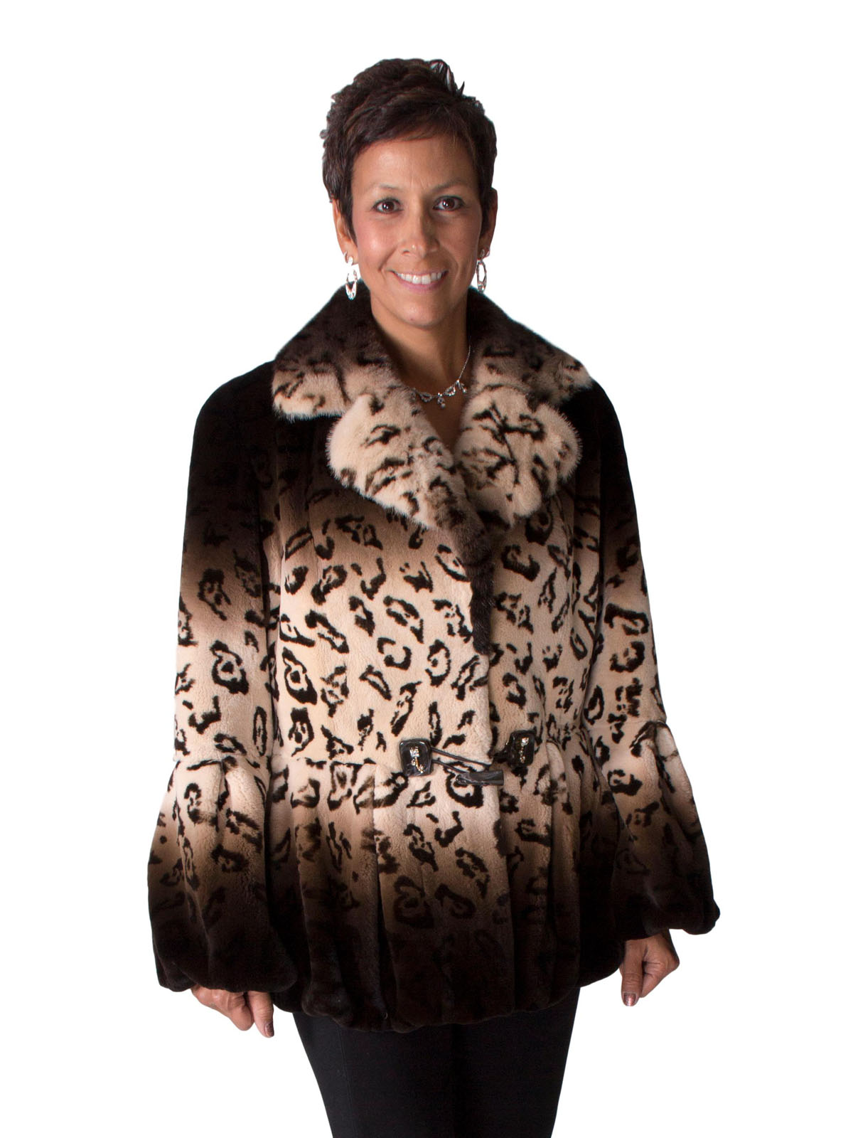 NEW Brown Degrade Rex Rabbit Jacket with Mink Color