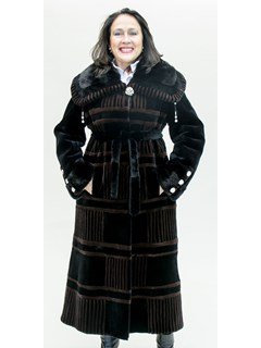NEW Black and Brown Sheared Mink Coat