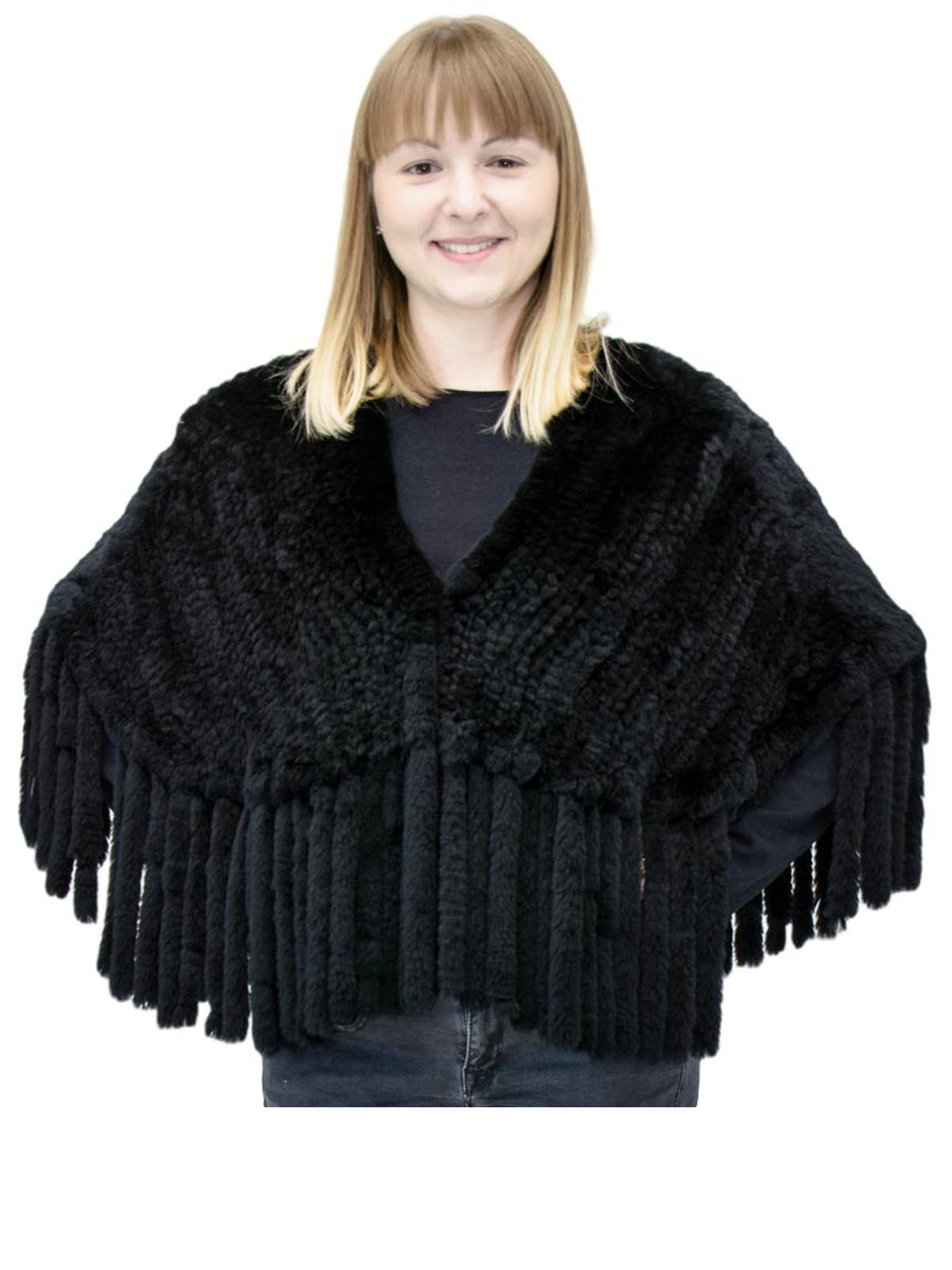 NEW Black Rex Rabbit Cape with Fringe