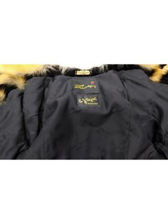 NEW Zuki Black Sheared Beaver Jacket with Abstract Design and Red Fox Trim