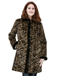 NEW Reversible Brown Swirl Sheared Mink Sections Parka