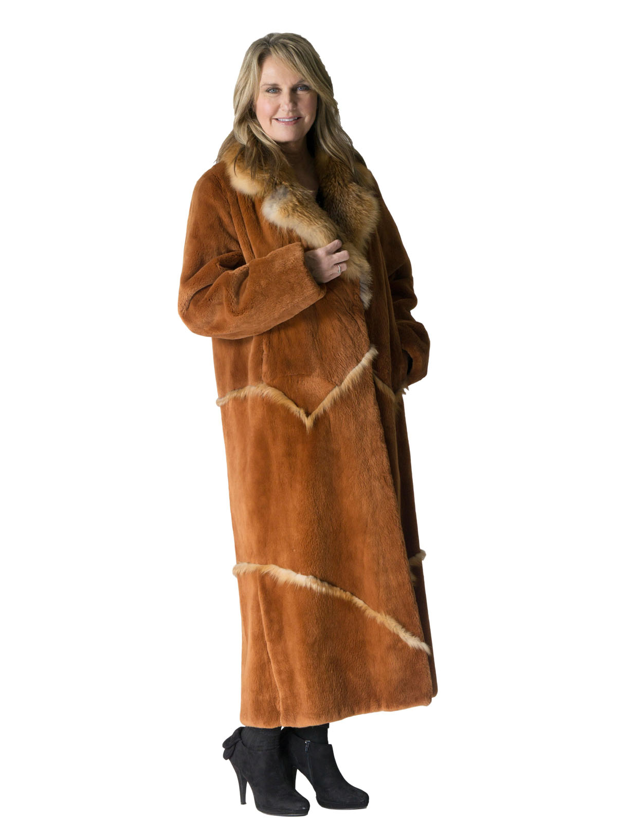 NEW Rust Sheared Beaver Coat with Red Fox