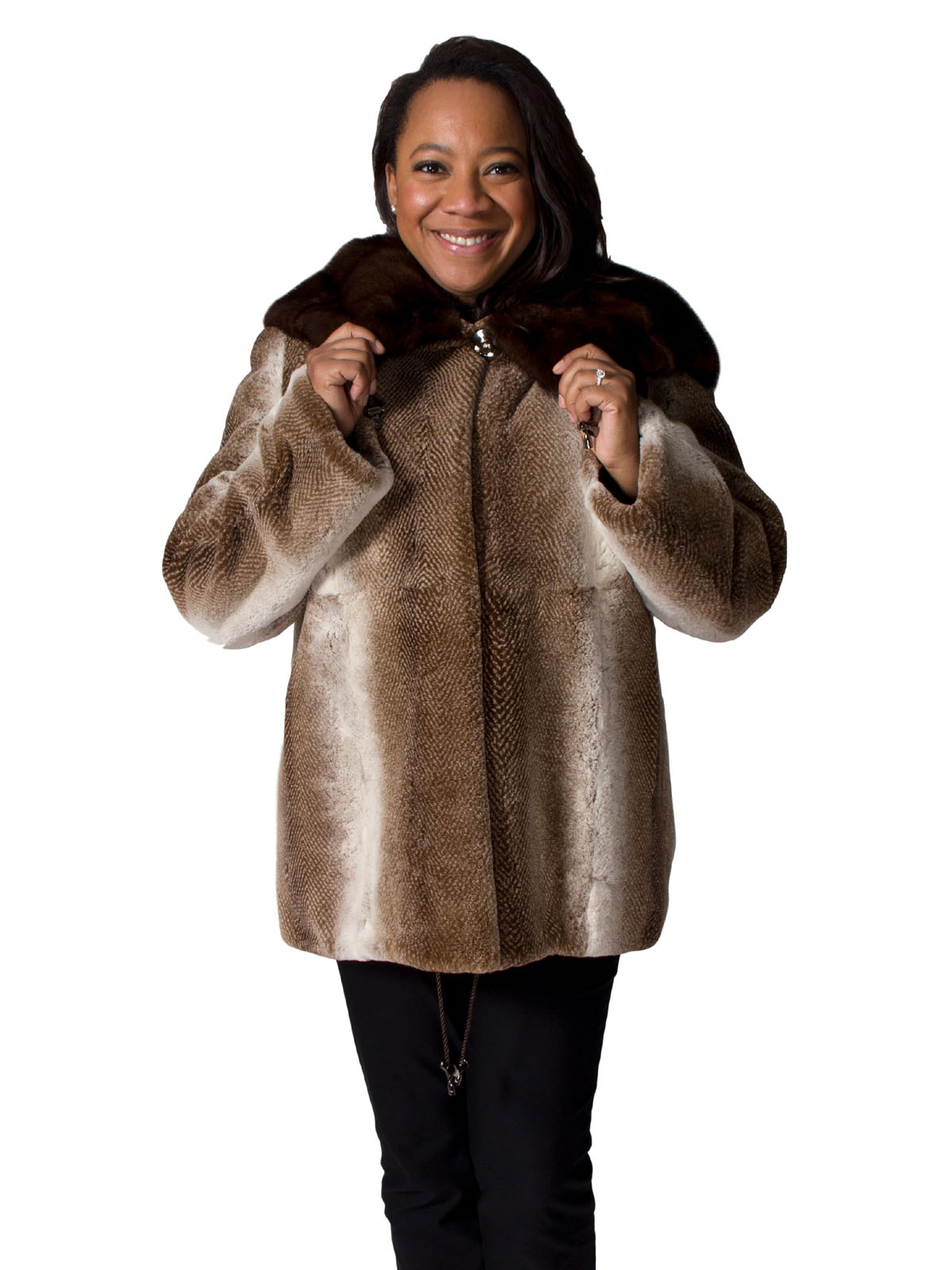 NEW Shaded Brown Sheared Rex Rabbit Parka with Mink Hood