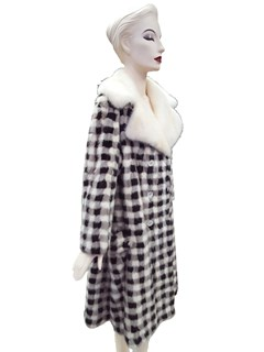 NEW Authentic Vintage Black, White, and Grey Checkerboard Mink Coat