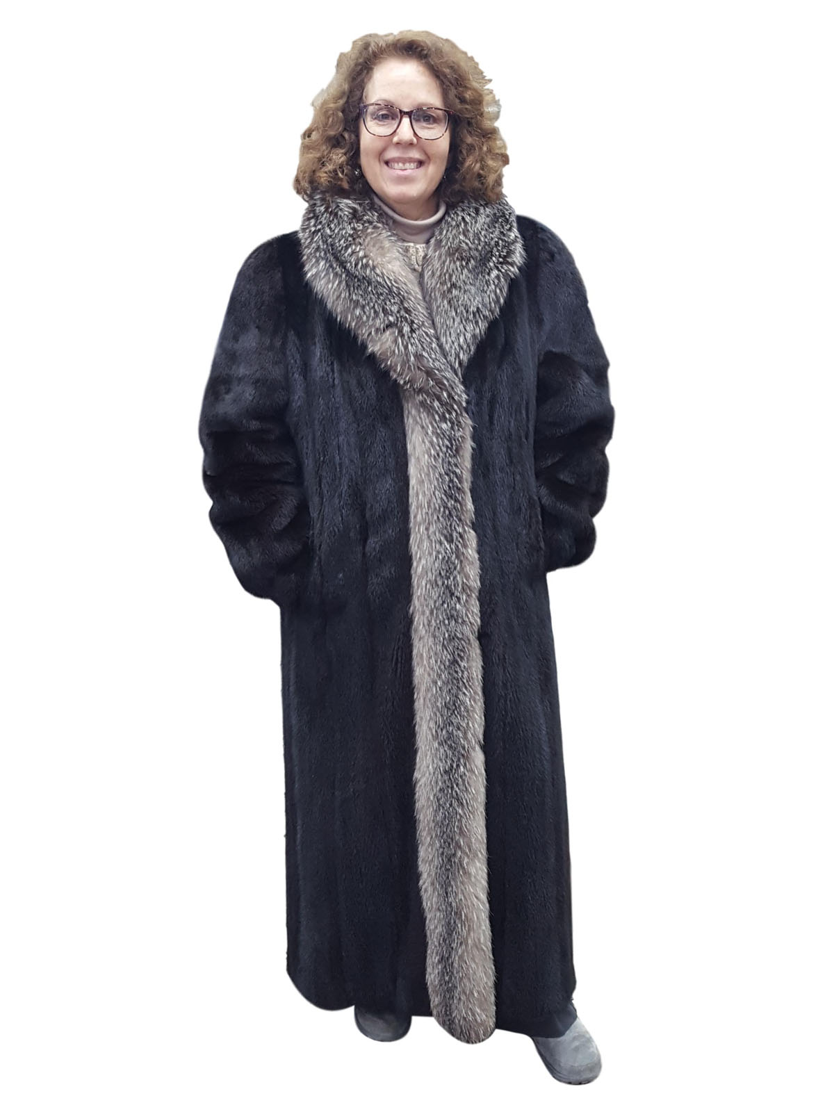 Ranch Mink Coat with Indigo Fox Tuxedo