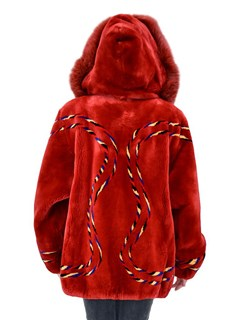 NEW Red Sheared Beaver Parka with Fox Trim on Hood