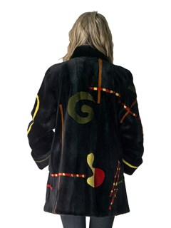 NEW Black Sheared Mink Coat with Multicolor Abstract Design
