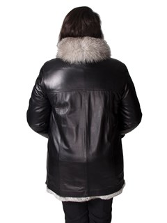 NEW Reversible Chinchilla Rex to Cabretta Lamb Leather Zip Jacket with Fox Collar