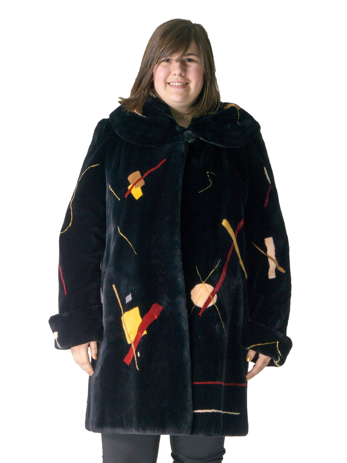 NEW Black Sheared Beaver Coat with Multicolor Abstract Design