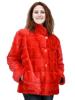 NEW Reversible Cherry Red Sheared and Plucked Mink Jacket