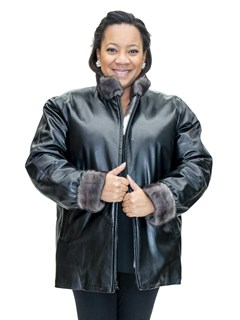 NEW Reversible Tricolor Chevron Mink Zip Jacket Reverses to Cabretta Lamb Leather