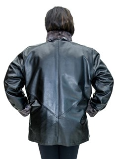 NEW Reversible Tricolor Chevron Mink Zip Jacket Reverses to Cabretta Lamb Leather