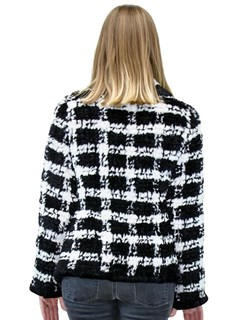NEW Black and White Knitted Rex Rabbit Plaid Jacket
