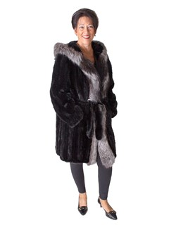 NEW Knitted Mink Parka with Indigo Silver Fox Trim