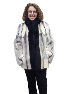 NEW Black Cross Kohinoor Mink Jacket with Fox Trim