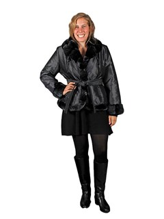 NEW Pewter Metallic Taffeta Silk Poly Filled Jacket with Rex Rabbit Trim