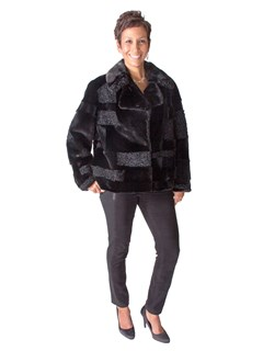 NEW Mink and Karakul Lamb Cube Design Jacket