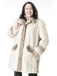 NEW Tourmaline Mink Coat with Pastel Sheared Mink Trim