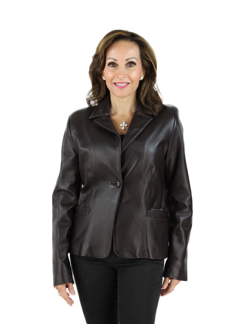 New Woman's Brown Leather Blazer