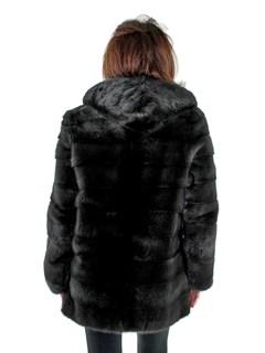 Woman's Rizal Slate Grey Mink Fur Parka with Double Fur Hood
