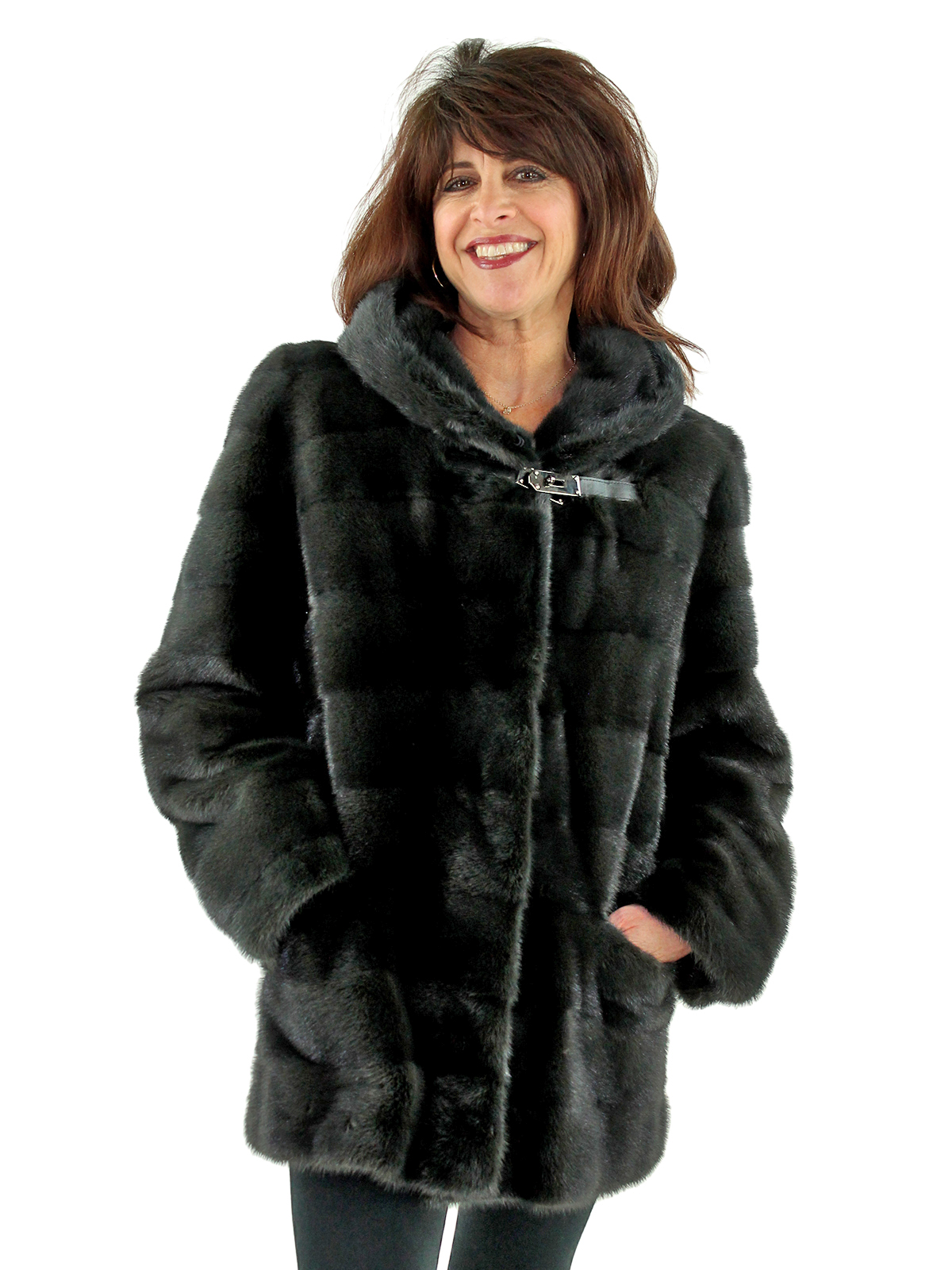 Woman's Rizal Slate Grey Mink Fur Parka with Double Fur Hood