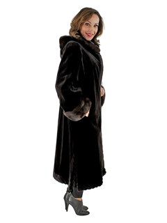 Woman's Dark Brown Sheared Mink Fur Coat with Detachable Hood