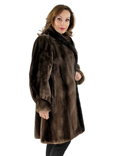 Woman's Phantom Sheared Beaver Fur Stroller with Mink Trim