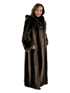 Woman's Phantom Sheared Beaver Fur Coat with Detachable Hood