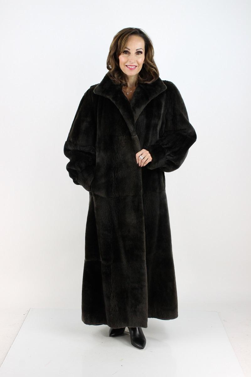 Woman's Dark Chocolate Brown Full Length Leather Coat