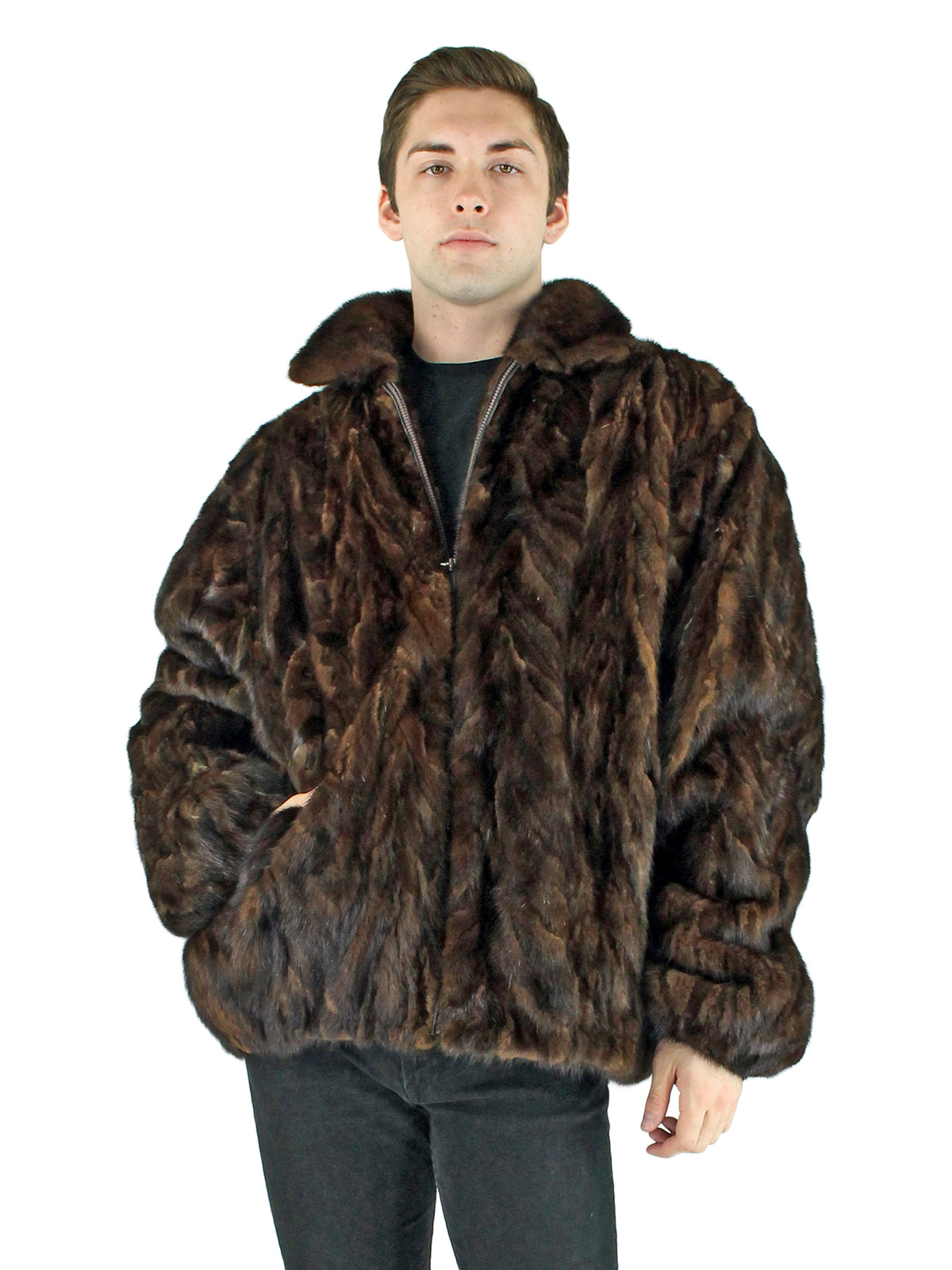 Man's Mahogany Mink Section Fur Jacket