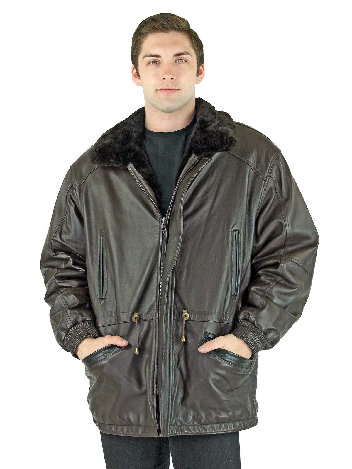 Man's Brown Sheared Beaver Fur Jacket Reversible to Brown Leather