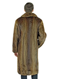 Man's Long Hair Beaver Fur Coat