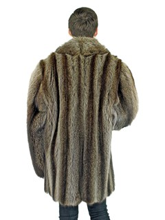 Man's Double Breasted Raccoon 3/4 Fur Coat