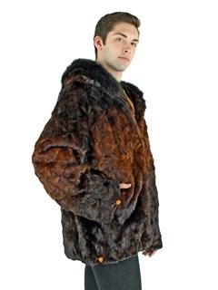 Man's Mahogany Degrade Sectioned Mink Fur Parka