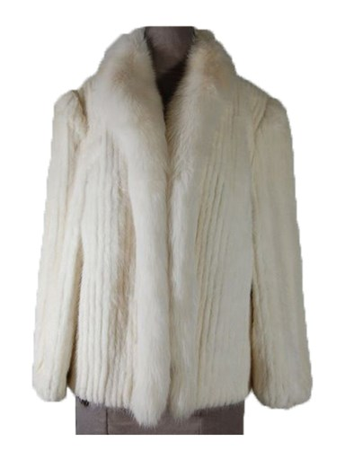 Mink Fur Cord Cut Jacket w/ Fox Tuxedo
