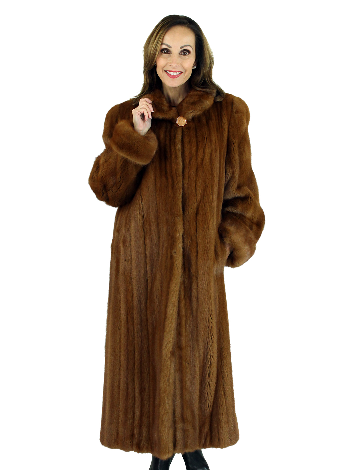 Woman's Whiskey Female Mink Fur Coat